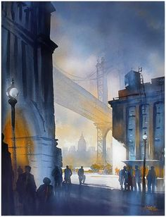 Thomas Schaller's watercolor technique is highly influenced by his architectural background. You can see this in not only the many classical architectural elements he paints, but also by the technical control he has over the medium itself. Watercolor City, Watercolor Artists, Watercolor Techniques, Watercolor Landscape, Watercolour Painting, Watercolours, 7 Arts, Art Thomas, Art Aquarelle