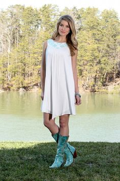 Wrangler Womens Sleeveless Cream Embroidered Dress - Keffeler Kreations | HilltopBoutique.com - 1