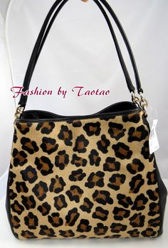 New w Tag COACH F 36685 Leather / Ocelot Print Calf Hair Phoebe Shoulder Bag #Coach #ShoulderBag