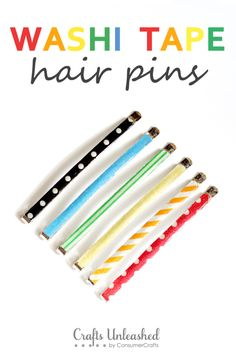 These washi tape hair pins are so super easy to make and would be a cute little gift! - From Crafts Unleashed