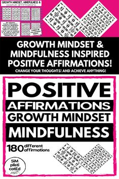 180 Positive Affirmations inspired by Growth Mindset and Mindfulness Positive Mindset, Positive Affirmations, Elementary Teacher, Elementary Schools, I Wish You Well, Growth Mindset Activities, Teaching Resources, Classroom Resources, Teaching Ideas