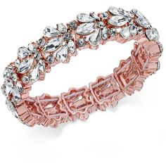 Charter Club Crystal Stone Stretch Bracelet, (1,200 DOP) ❤ liked on Polyvore featuring jewelry, bracelets, rose gold, crystal jewellery, crystal jewelry, crystal bangles, stretch jewelry and charter club jewelry