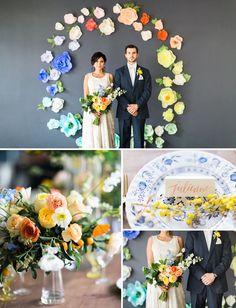 Paper flowers + fresh flowers <3