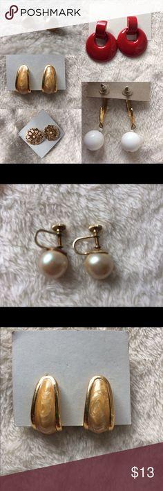 Retro Vintage Earrings Lot Of 5 Costume 80's E Retro Vintage Earrings Lot Of 5 Costume 80's E Jewelry Earrings
