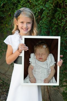 An idea: take a picture at baby's baptism, then First Communion holding baptism picture, then Confirmation holding Communion/Baptism photo. wedding, holding Confirmation/Communion/Baptism, and so on. First Communion Party, First Communion Dresses, First Holy Communion, Baby Baptism, Christening, Ideas Bautismo, Baptism Pictures, Baby Blessing, Catholic Kids