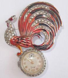 Marcel Boucher enamel and rhintestone watch/brooch