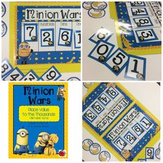Minions place value math game! A great way for students to practice place value while collecting banana points. 2nd Grade Classroom, Primary Classroom, 2nd Grade Math, Second Grade, Grade 3, Teaching Activities, Teaching Math, Teaching Resources, Teaching Ideas