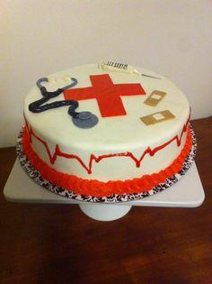 Nurse cake - inside is Jack Daniel's cake with chocolate ganache and buttercream