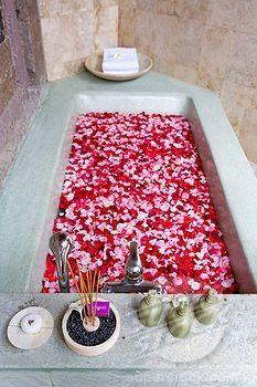 High angle view of bathtub, Bali, Indonesia Stock Photo Tropical Bathroom, Bathroom Spa, Bath Benefits, Bali Honeymoon, Bath Photography, Bath Recipes, Ritual Bath, Dream Bath, Outdoor Flowers