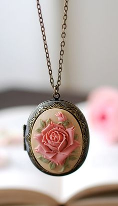 Large Rose Cameo Locket Necklace. Vintage Inspired Antique Brass Dark Ivory Dusky Pink Rose Oval Locket Necklace. Unique Gift by LeChaim, $27.00 https://www.etsy.com/your/shops/LeChaim/