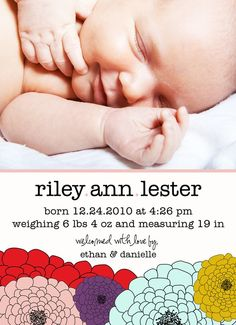 Birth+Announcement++Riley+Baby+Girl+Birth+by+deanworks+on+Etsy,+$15.00