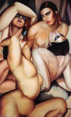 by artist Tamara Lempicka aka Tamara de Lempicka, (b.May 1898 Warsaw Poland - d. March Cuernavaca, Mexico) was a Polish Art Deco painter. Art Nouveau Pintura, Tamara Lempicka, Moda Art Deco, Estilo Art Deco, Art Deco Stil, Pierre Auguste Renoir, Art For Art Sake, Erotic Art, Art Deco Fashion