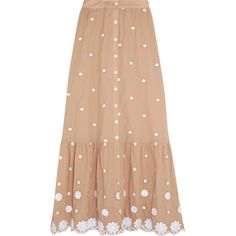 Miguelina Aiden embroidered cotton skirt (€310) ❤ liked on Polyvore featuring skirts, bottoms, sand, high-waisted skirts, high waisted flare skirt, knee length flared skirts, red knee length skirt and polka dot skirts