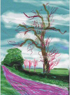 Voorbeeld van een landschap gemaakt met de app Brushes door de Engelse kunstenaar David Hockney - ( Ipad painting )