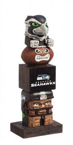 Seattle Seahawks Tiki Totem Pole Decoration by Evergreen Enterprises. Pro Image Sports at Mall of America. - Material: Resin - Measures approx x x - Hand-painted - Officially licensed Nfl Seattle, Seattle Seahawks, Denver Broncos, Seahawks Football, Football Fans, Tiki Totem, Tiki Tiki, Team Mascots, Hawaii Style