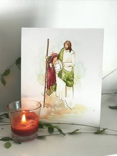aquarell weihnachten Nativity Watercolor- Christmas Brushworkbabe- Woman and Christ- Light the World Watercolor Christmas Cards, Watercolor Cards, Watercolour Painting, Painting & Drawing, Watercolors, Diy Painting, Christmas Paintings, Christmas Art, Christmas Decorations
