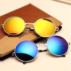 Fashion Vintage Round Sunglasses For Women Men Brand Designer Mirrored Glasses Retro Female Male Sun Glasses Men's Women's Pixel WOW #shop #beauty #Woman's fashion #Products #Classes