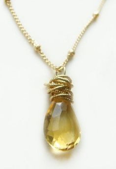 Tidal Necklace with Citrine Gold Textured Circles [ Thesterlinghut.com ] #women #fashion #sterling
