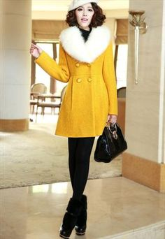 yellow wool coat with fur collar by YRB