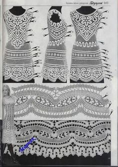 "Photo from album ""Дуплет on Yandex. Irish Crochet Charts, Filet Crochet, Crochet Lace, Crochet Stitches, Bruges Lace, Lace Patterns, Crochet Patterns, Crochet Short Dresses, Romanian Lace"