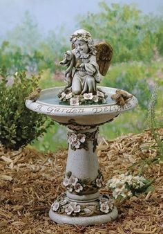 Joseph's Studio Bird Bath with Angel & Verse Outdoor Garden Statue