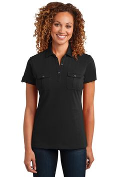 a46edd5d CLOSEOUT District Made Ladies Double Pocket Polo. DM433 custom apparel and promotional  products
