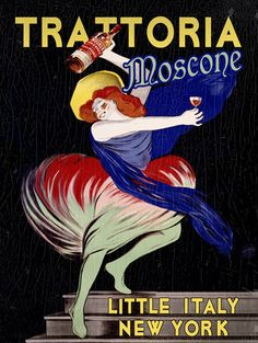 Vintage Italian Posters ~ ~ Vintage Trattoria Mosconi Giclee Fine Art Print Mounted Canvas New York Little Italy Poster Vintage Italian Posters, Vintage Advertising Posters, Vintage Advertisements, Food Advertising, Print Advertising, Vintage Wine, Vintage Labels, Vintage Ads, Art Vintage
