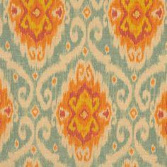 Ikat Fabric , Upholstery Fabric , Teal Designer Fabric