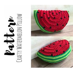 Crochet Watermelon 🍉 Pillow Pattern by A Crafty Concept on Etsy Crochet Hook Sizes, Crochet Hooks, Free Crochet, Crochet Pillow Pattern, Crochet Patterns, Crochet Ideas, Crochet Projects, Crochet Fruit, I Love This Yarn