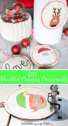 These adorable handmade DIY Christmas ornaments are perfect for decorating, gifting and more. Sewing Christmas ornaments can't get more fun than this! Sewn Christmas Ornaments, Easy Christmas Crafts, Simple Christmas, Kids Christmas, Handmade Christmas, Christmas Decorations, Diy Ornaments, Rustic Christmas, Holiday Decor