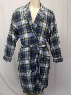 3d27b0ac53 LANDS END Mens XL (46-48) Plaid Flannel Robe Pockets Blue Green White