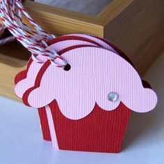 Valentine Cupcake Gift Tags in Pink & Red  2 x 175 by scrapbits, $3.00