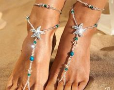 Something blue Beaded barefoot sandals Bridal foot jewelry Pearl and Rhinestone Beach wedding Barefoot Sandals Swarovski Elements Starfish Sandals, Blue Sandals, Bare Foot Sandals, Footless Sandals, Wedding Shoes Online, Beach Foot Jewelry, Beach Wedding Sandals, Party Set, Crochet Barefoot Sandals