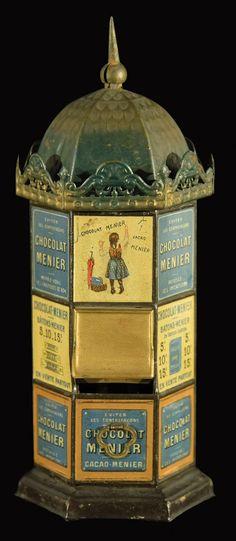 Old savings box as an advertising pillar CHOCOLAT MENIER