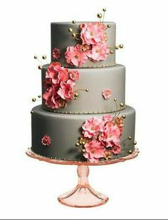 {Cake} 3 tier cake in grey with pink hibiscus flowers with gold accents #cake #sweet #hibiscus #bridal