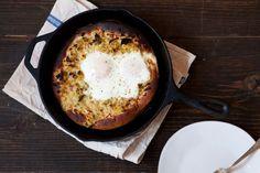 Creamed Leek and Egg Skillet Pizza