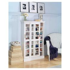 Southern Enterprises Sliding Door Media Cabinet Bookcase White Bookcases At Hayneedle Shoe Storage