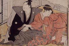 Lovers becoming familiar by Katsukawa Shunsho