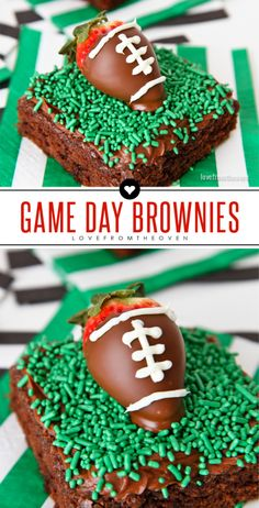 Easy Game Day Football Brownies With Chocolate Dipped Strawberries That Look Like Footballs! Great dessert idea for watching the Super Bowl. Football Brownies, Superbowl Desserts, Football Treats, Football Party Foods, Football Food, Football Parties, Tailgate Desserts, Football Birthday, Tailgate Food