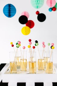 You should never say no to DIY gumball drink stirrers at a party.