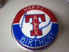 Rangers Cake - my mom so needs this for her b-day in May