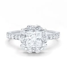 KJ5 18K White Gold Diamond Halo Semi-Mount Engagement Ring. This ring is meant to hold a princess cut diamond center stone. Available now at kings1912.com