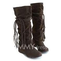 $15.08 Concise Women's Boots With Tassels and Pure Color Design