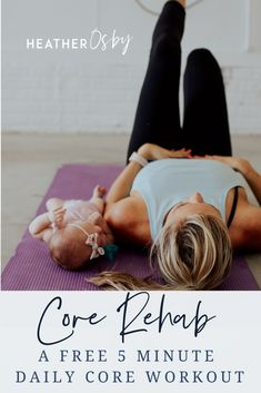 Core Rehab A Five Minute Core Workout - Sit ups aren't a great exercise to strengthen your deep core muscles. Plus they can be kinda risk - Post Baby Workout, Post Pregnancy Workout, Best Ab Workout, Ab Workout At Home, Pilates Workout, Postpartum Workout Plan, Postnatal Workout, Postpartum Care, Mini Workouts