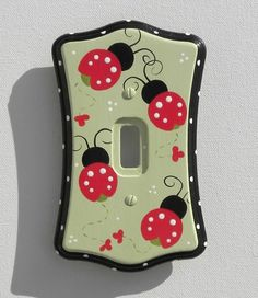 Ladybug Parade Switch Plate & Outlet Covers (Several Sizes Available) Ladybug Room, Ladybug Nursery, Ladybug House, Baby Ladybug, Switch Plate Covers, Light Switch Plates, Light Switch Covers, Sewing Crafts, Diy Crafts