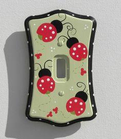 Ladybug Parade Switch Plate & Outlet Covers (Several Sizes Available) Ladybug Room, Ladybug Nursery, Ladybug House, Baby Ladybug, Switch Plate Covers, Light Switch Plates, Light Switch Covers, Sewing Crafts, Diy Crafts