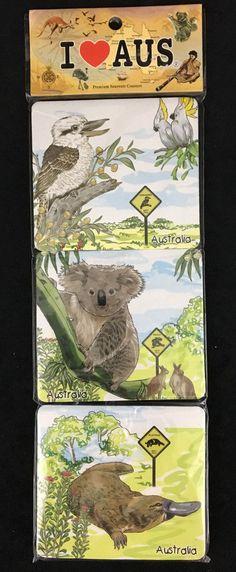 I Love Australia Souvenir Coasters Animal Themed 6 Sponge Backed Coasters 4x4  #Unbranded