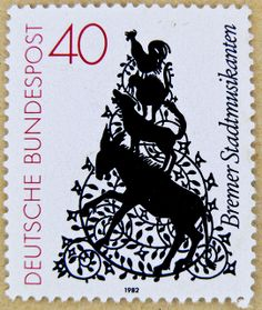"""stamp Germany timbre allemagne selo sello alemanha francobolli Germany bollo postage 40 Bremer Stadtmusikanten """"Town musicians of Bremen"""" stamp cock (rooster, chicken) cat dog donkey Cartoon Wall, Cartoon Drawings, Bremen Musicians, Chicken Cat, German Stamps, Stamp Dealers, Love Stamps, Mail Art, Stamp Collecting"""