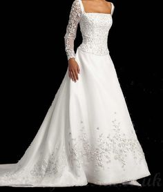 Square Embroidery Chapel Train Lace Long Sleeve Vintage Wedding Dress - www.bridalgownsuk.co.uk