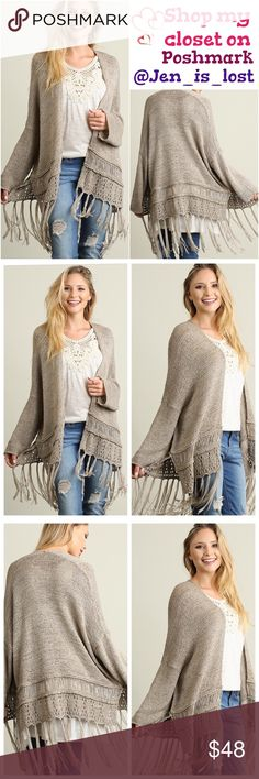 Coming 11-04 Sweater with Fringe Detail  Color: Oatmeal Fabric: COTTON BLEND Sweaters